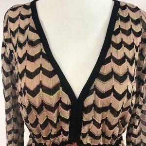 Missoni Brown Pink Tan Chevron Dress Sz 12
